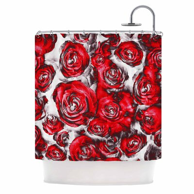 Dawid Roc Red Roses Floral Abstract Shower Curtain