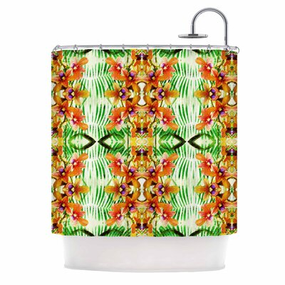 Dawid Roc Tropical Flowers-Palm Leaves Shower Curtain