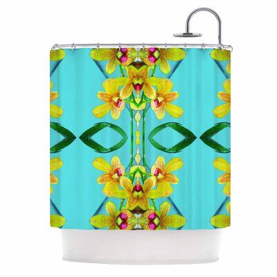Dawid Roc Tropical Floral Orchids 3 Shower Curtain