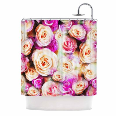Dawid Roc Sweet Pastel Rose Flowers Shower Curtain