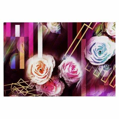 Dawid Roc Roses Floral Geometric Stripes Doormat