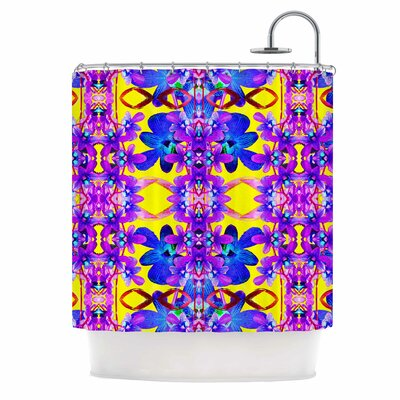 Dawid Roc Tropical Orchid Dark Floral 3 Shower Curtain Color: Purple/Yellow