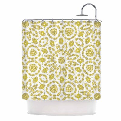 Alison Coxon Flaxen Mandala Digital Shower Curtain