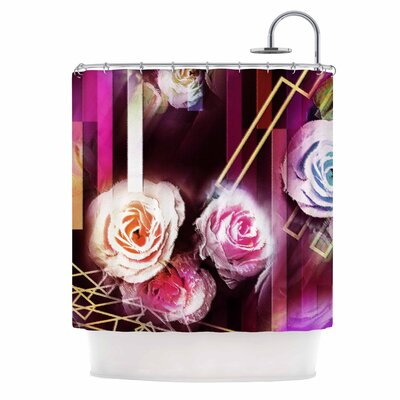 Dawid Roc Roses-Floral Geometric Stripes Shower Curtain