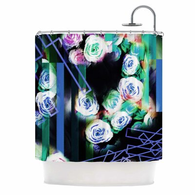 Dawid Roc Cool Roses-Floral Stripes Shower Curtain