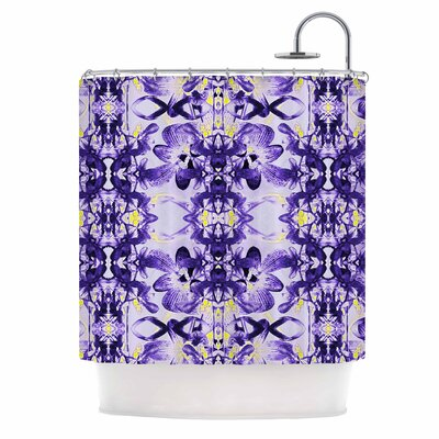 Dawid Roc Tropical Orchid Dark Floral 3 Shower Curtain Color: Purple/Lavender