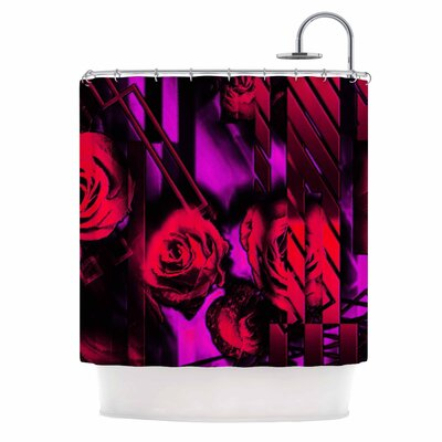 Dawid Roc Red Roses-Flower Geometric Shower Curtain