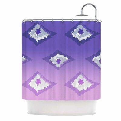Alison Coxon Ombre Ikat Shower Curtain Color: Lavender/White