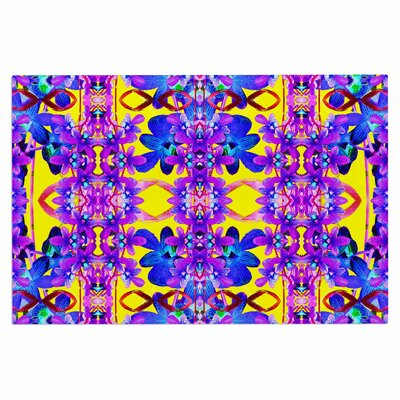 Dawid Roc Tropical Orchid Floral 3 Doormat Color: Purple/Yellow