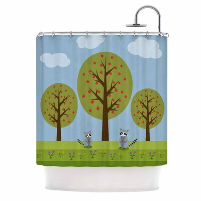 Cristina Bianco Cute Raccoons and Apple Trees Illustration Shower Curtain