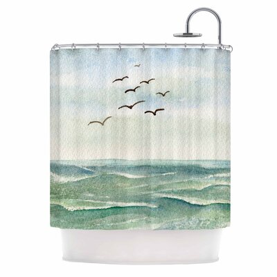 Cyndi Steen Flock Flying Low Coastal Shower Curtain