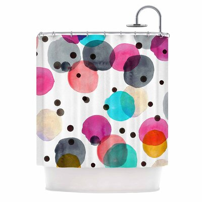 Crystal Walen Festive Watercolor Dots Shower Curtain