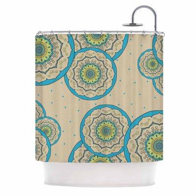 Cristina Bianco Mandala Illustration Shower Curtain Color: Blue/Green
