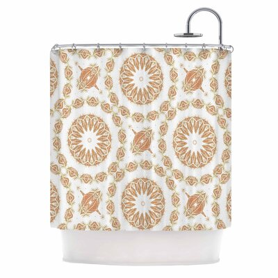 Alison Coxon Citrine Mandala Tile Digital Shower Curtain