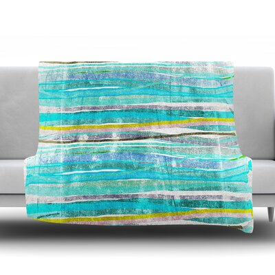Fancy Stripes Frederic Levy Hadida Fleece Blanket Color: Aqua, Size: 50 W x 60 L