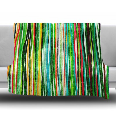 Fancy Stripes by Frederic Levy Hadida Fleece Blanket Color: Green, Size: 50 W x 60 L