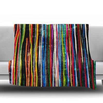 Fancy Stripes by Frederic Levy Hadida Fleece Blanket Color: Dark, Size: 60 W x 80 L