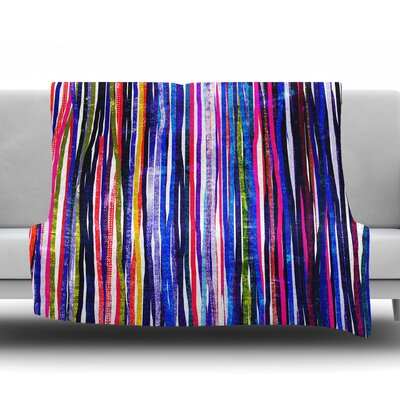 Fancy Stripes by Frederic Levy Hadida Fleece Blanket Color: Purple, Size: 60 W x 80 L