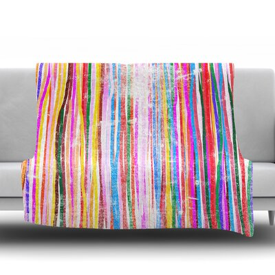 Fancy Stripes by Frederic Levy Hadida Fleece Blanket Color: Pastel, Size: 50 W x 60 L