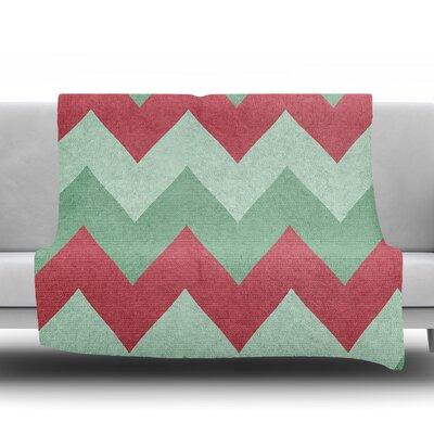Holiday Chevrons by Catherine McDonald Fleece Blanket Size: 60 W x 80 L