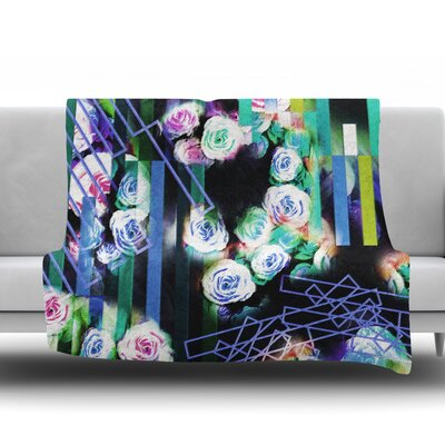 Cool Roses-Floral Stripes by Dawid Roc Fleece Blanket Size: 60 W x 80 L