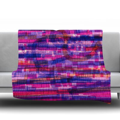 Squares Traffic by Frederic Levy Hadida Fleece Blanket Color: Pink, Size: 50 W x 60 L