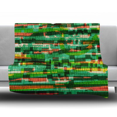 Squares Traffic by Frederic Levy Hadida Fleece Blanket Color: Green, Size: 60 W x 80 L