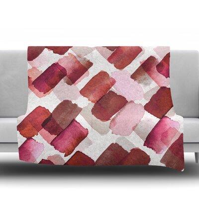 Strokes Of Genius by Ebi Emporium Fleece Blanket Size: 50 W x 60 L, Color: Purple/Brown