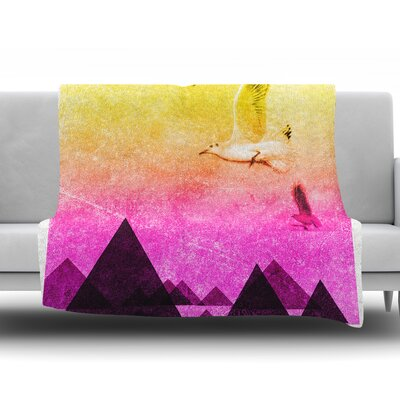 Seagulls in Shiny Sky by Frederic Levy-Hadida Fleece Blanket Size: 50 W x 60 L