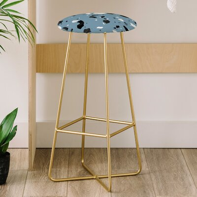 30 Bar Stool Upholstery: Blue Mareike Boehmer Terrazzo 4