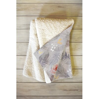 Abstract Floral with Feathers Blanket Size: 80 L x 60 W