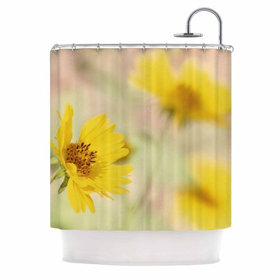 Abstract Yellow Flowers Photography Shower Curtain