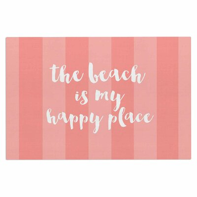 Beach is My Happy Place Doormat Color: Coral/Pink