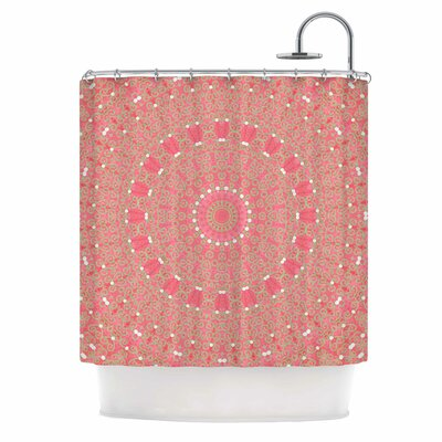 Boho Hearts Coral Shower Curtain