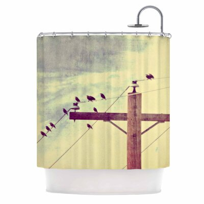 Vintage Birds on a Wire 2 Digital Shower Curtain