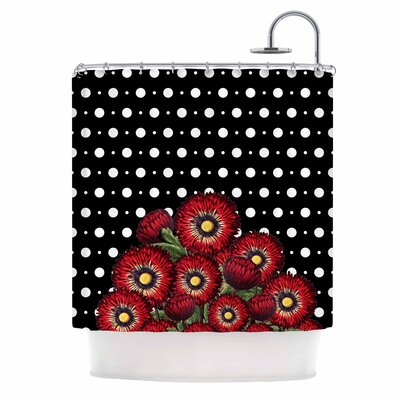 Spring Pattern Floral Red Mixed Media Shower Curtain