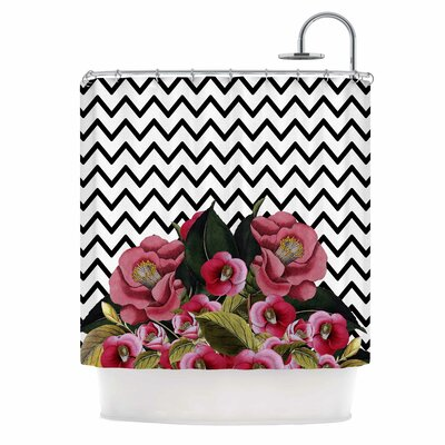Spring Pattern Chevron Pink Mixed Media Shower Curtain