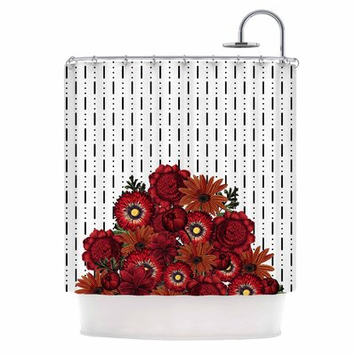 Spring Pattern Dotted Lines Red Mixed Media Shower Curtain