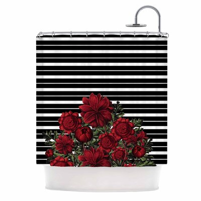 Spring Pattern Lines Red Mixed Media Shower Curtain