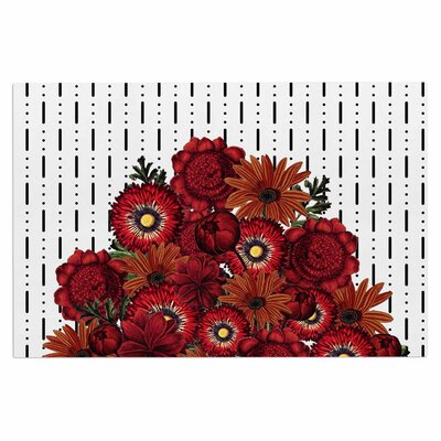 Spring Pattern Dotted Lines Red Doormat