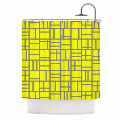 Kutije Shower Curtain Color: Yellow/Gray