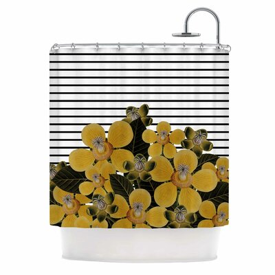 Spring Pattern Lines Yellow Mixed Media Shower Curtain