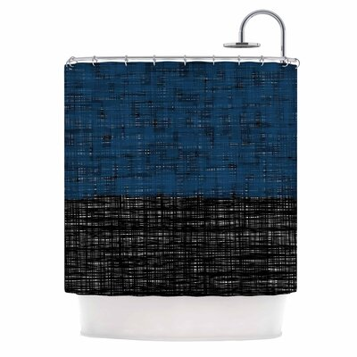 Platno Shower Curtain Color: Blue/Black