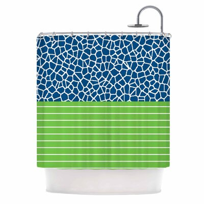 Staklo (Dark Blue) with Green Shower Curtain