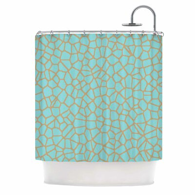Staklo Shower Curtain Color: Aqua/Brown