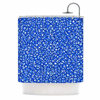 Staklo Digital Shower Curtain Color: Blue/White