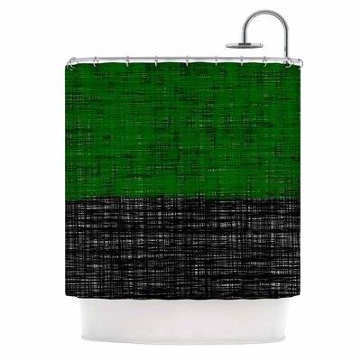 Platno Shower Curtain Color: Green/Black