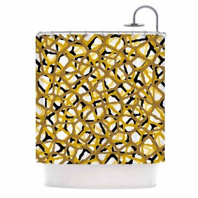 Staklen Vector Digital Shower Curtain Color: Gold/Black