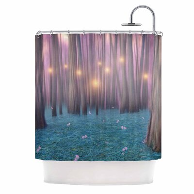 Pink Feather Dance Digital Shower Curtain