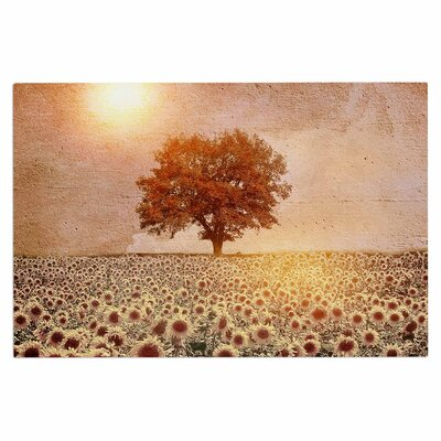 Lone Tree & Sunflowers Field Sunny Nature Decorative Doormat